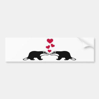 Honey badger love hearts bumper stickers