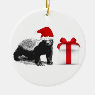 Honey Badger Merry Christmas Round Ceramic Decoration