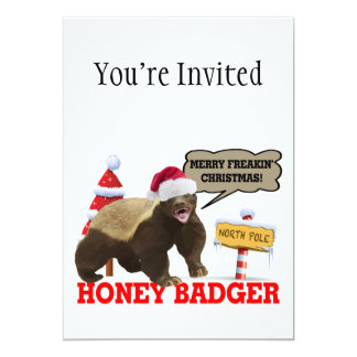 Honey Badger Merry Freakin' Christmas 13 Cm X 18 Cm Invitation Card