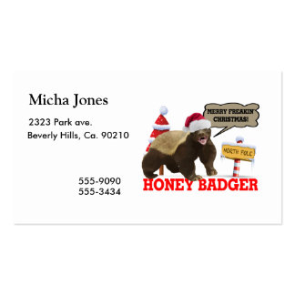 Honey Badger Merry Freakin' Christmas Double-Sided Standard Business Cards (Pack Of 100)