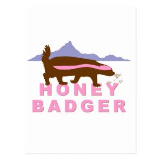 honey badger pink postcard