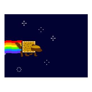 Honey Badger Rainbow Butt Space Monkey Postcard