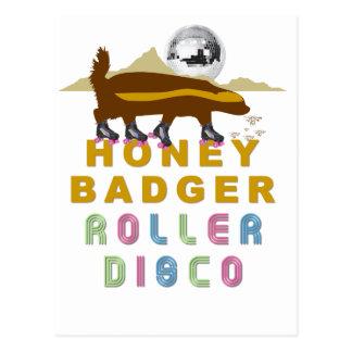 honey badger roller disco postcard