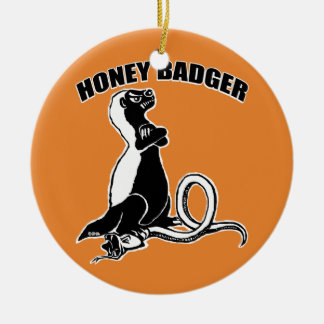 Honey badger round ceramic decoration