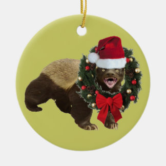 Honey Badger Santa Hat Christmas Tree Ornament