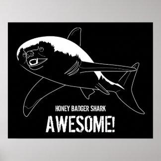 Honey Badger Shark Poster