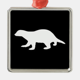 Honey Badger Silver-Colored Square Decoration