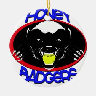 Honey Badger Softball Ceramic Ornament