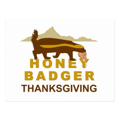 honey badger thanksgiving postcard