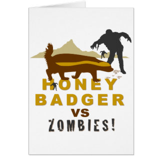 honey badger vs zombies greeting card