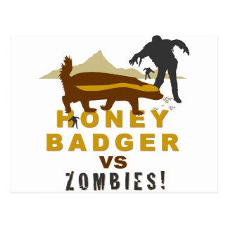 honey badger vs zombies postcard