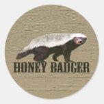 Honey Badger Wild Animal Round Stickers
