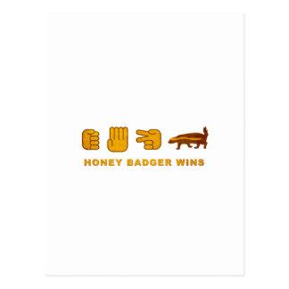 Honey Badger Wins - (Vintage) Rock Paper Scissor Postcard