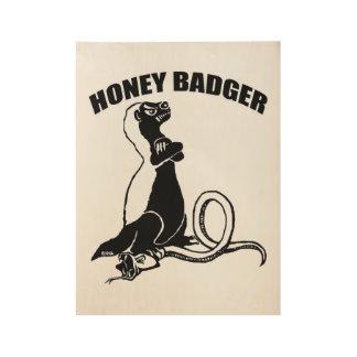 Honey badger wood poster