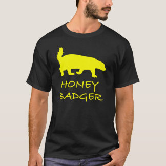 Honey Badger yellow on Black T-Shirt