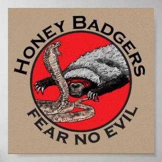 Honey Badgers 'fear no evil' Poster