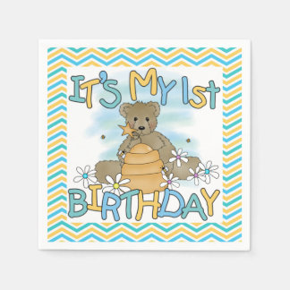 Honey Bear 1st Birthday Paper Napkins