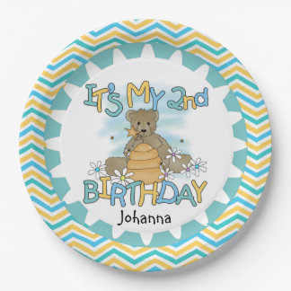 Honey Bear 2nd Happy Birthday Paper Plates 9 Inch Paper Plate