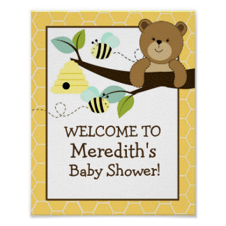 Honey Bear and Bee 8x10 Sign Poster