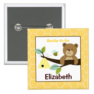 Honey Bear and Bee Customised name tag Button