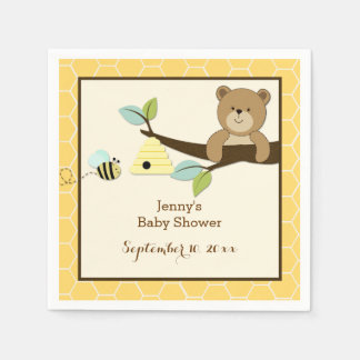 Honey Bear and Bee Customized Napkins Paper Serviettes