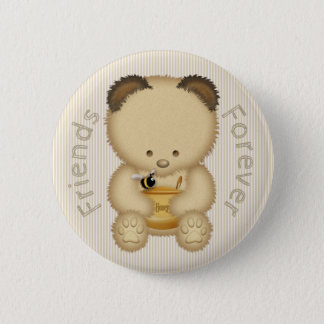 Honey Bear and Bee Friends Forever 6 Cm Round Badge