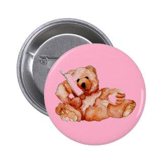 Honey Bear Talking on Phone Teddy Bear Pink Purple Buttons