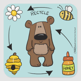 Honey Bear- The Recycler Square Sticker