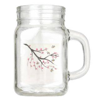 Honey Bee And Cherry Blossoms Mason Jar