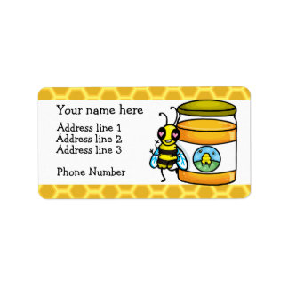 Honey bee and jar address label