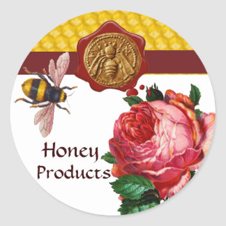 HONEY BEE AND PINK ROSE,BEEKEEPER WAX SEAL
