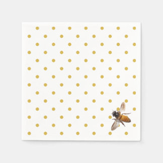 Honey Bee and polka-dots Disposable Serviette
