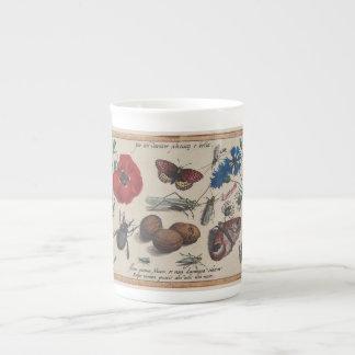 Honey Bee Antique Hoefnagel Plants, birds, flowers Tea Cup