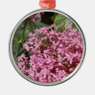 Honey Bee At Work Silver-Colored Round Decoration