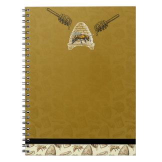 Honey Bee Beehive Golden Yellow Vintage Natural Notebook