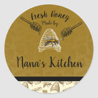Honey Bee Beehive Homemade Made by Personalized Classic Round Sticker