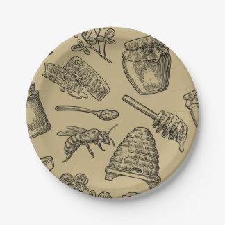 Honey Bee Beehive Vintage Organic Natural Rustic Paper Plate