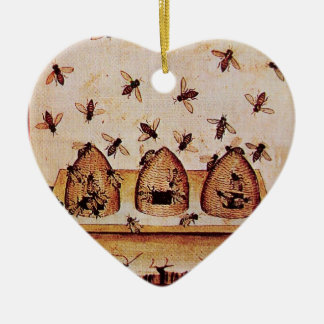 HONEY BEE, BEEKEPER Heart Christmas Tree Ornaments