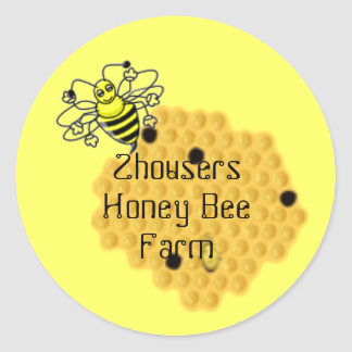 Honey Bee Beeswax Beehive Canning label Round Sticker