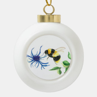 Honey Bee Ceramic Ball Christmas Ornament