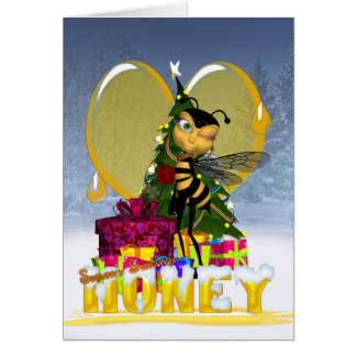 Honey Bee Christmas Card - Cute Honey Honey Bee