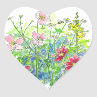 Honey Bee Cosmos Snapdragons Watercolor Flowers Heart Sticker