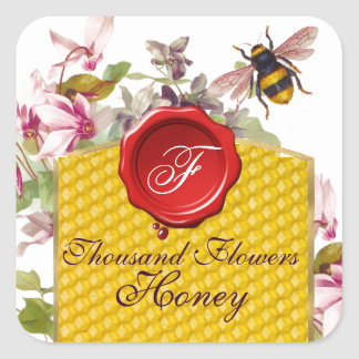 HONEY BEE,CYCLAMEN FLOWERS RED WAX SEAL MONOGRAM