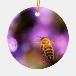 Honey Bee Flying Toward Flower Christmas Ornament