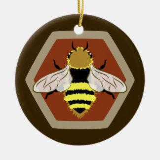 Honey Bee Graphic Round Ceramic Ornament
