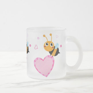 Honey Bee Holding Pink Heart Glass Mug
