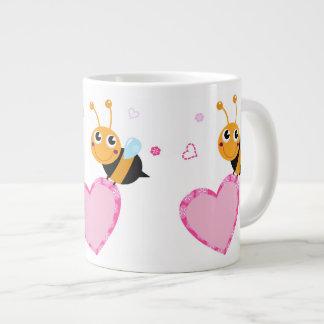 Honey Bee Holding Pink Heart Jumbo Mug