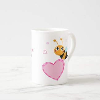 Honey Bee Holding Pink Heart Mug