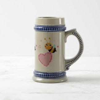 Honey Bee Holding Pink Heart Stein Mug