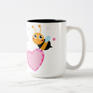 Honey Bee Holding Pink Heart Two-Tone Mug